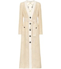 Alessandra Rich Belted Tweed Coat Yellow
