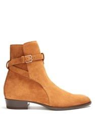 Saint Laurent Wyatt Jodphur Suede Ankle Boots Tan