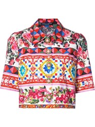 Dolce And Gabbana Mambo Print Cropped Shirt Red