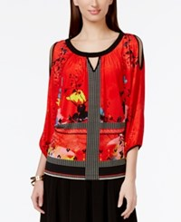Eci Printed Cold Shoulder Top