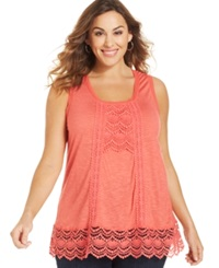 Eyeshadow Plus Size Sleeveless Crochet Trim Top Guava