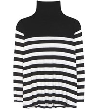 Velvet Aretha Striped Tutleneck Top Black