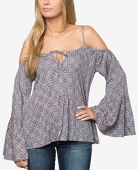 O'neill Juniors' Tawni Printed Cold Shoulder Top A Macy's Exclusive Stl