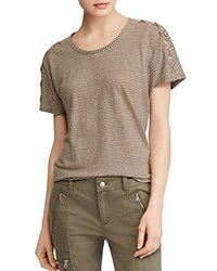 Ralph Lauren Striped Lace Up Slouchy Tee Sage