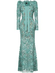 Elie Saab Long Sleeves Full Embellished Column Gown Silk Polyamide Green