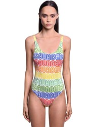 Dsquared Rainbow Logo One Piece Swimsuit Multicolor