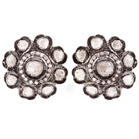 Kastur Jewels Victorian White Sapphire Flower Stud Earrings Black White Gold