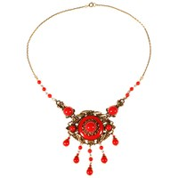 Alice Joseph Vintage 1920S Gold Toned Czech Glass Bead And Enamel Necklace Crimson