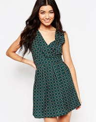 Mela Loves London Leaf Print Tie Back Skater Dress Green