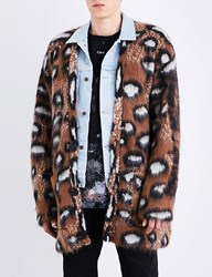 Off White C O Virgil Abloh Leopard Wool And Mohair Blend Cardigan Multicolor