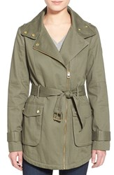 Women's Guess Belted Cotton Twill Moto Jacket