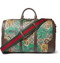 Gucci Leather Trimmed Printed Coated Canvas Holdall Brown