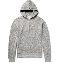 John Elliott Mercer Melange Fleece Back Cotton Jersey Half Zip Hoodie Light Gray