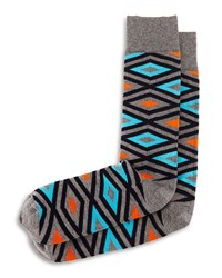 Diamond Print Knit Socks Gray Turquoise Orange Gray Turq Orng Jonathan Adler