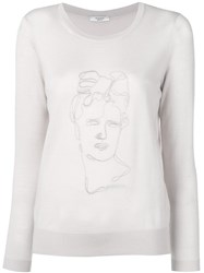 Peserico Embroidered Face Jumper Pink