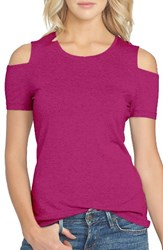 1.State Women's Cold Shoulder Tee Tropic Berry