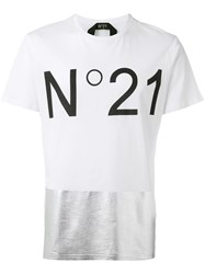 N 21 No21 Metallic Panel Logo T Shirt White