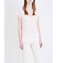 James Perse Loose Fit Cotton Jersey T Shirt Oxford Pink