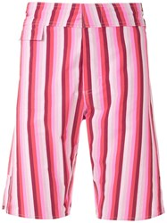 Amir Slama Striped Swim Trunks Pink