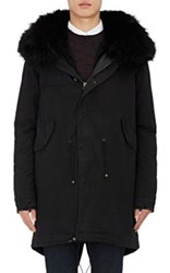 Mr And Mrs Italy Men's Fur Trimmed Lined Cotton Parka Black