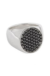 Tom Wood Women's Black Spinel Oval Pinkie Ring