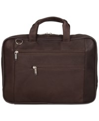 Kenneth Cole Reaction Double Play Leather Double Compartment Top Zip Computer Portfolio Case Brown
