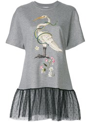 Red Valentino Embroidered T Shirt With Lace Hem Grey