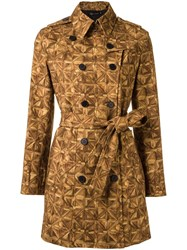 Andrea Marques All Over Print Trench Coat Women Cotton Spandex Elastane 38 Brown