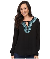 Stetson Poly Crepe Peasant Blouse Black Women's Clothing
