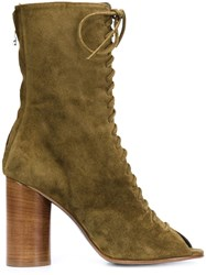 Valas Peep Toe Lace Up Boots Green