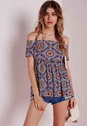 Missguided Bardot Tile Print Top Red