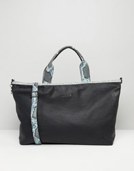Silvian Heach Textured Weekender Travel Bag With Faux Snakeskin Trim Black