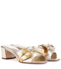 Roger Vivier Embellished Leather Sandals Metallic