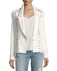 Haute Hippie Fitted Lace Up One Button Blazer White