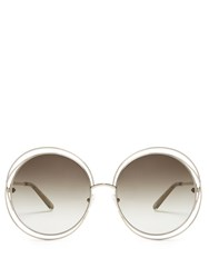 Chloe Carlina Round Frame Sunglasses Green