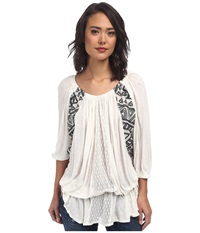 Free People New World Jersy Butterfly Tunic Ivory Women's Blouse White
