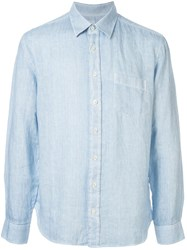 120 Lino Long Sleeved Patch Pocket Shirt Blue