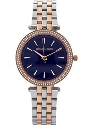 Michael Kors Mini Darci 32Mm Contrast Dial Mixed Metal Bracelet Watch Silver Rose Gold Silver Rose Gold
