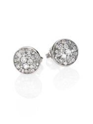 Plev Ice Diamond And 18K White Gold Button Earrings