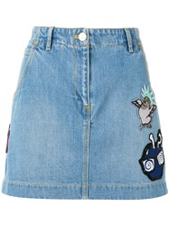 Kenzo Embroidered Cartoon Skirt Blue