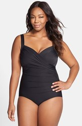 Plus Size Women's Miraclesuit 'Sanibel' Underwire One Piece Swimsuit Black Tones