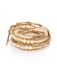 Chan Luu Mother Of Pearl Sterling Silver And Leather Multi Row Beaded Wrap Bracelet Tan