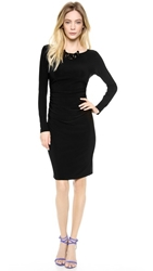 Norma Kamali Kamali Kulture Long Sleeve Dress With Shirred Waist Black