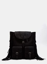 Saint Laurent Festival Crusader Fringed Suede Backpack Black