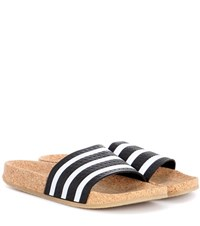 Adidas Adilette Slip On Leather Sandals Black