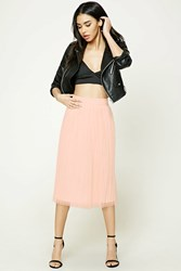 Forever 21 Pleated Tulle Midi Skirt Blush