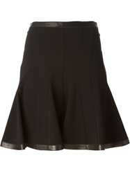 Roberto Cavalli Leather Trimmed Flared Skirt Black