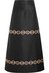 Alessandra Rich Embroidered Quilted Jacquard Maxi Skirt Black