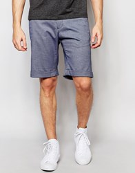 Selected Homme Skinny Cotton Shorts With Turn Up And Stretch Blue