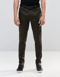 Asos Super Skinny Smart Trousers With Side Panel Khaki Green